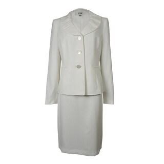 Le Suit Women's Palm Beach Pleated Lapel Skirt Suit - Vanilla Ice