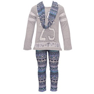 """Dreamstar Little Girls Gray """"25"""" Tribal Printed Top Scarf Legging Outfit"""