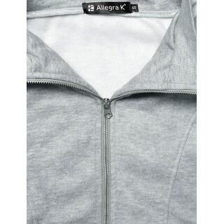 Allegra K Solid Color Front Patch Pockets Design Ribbed Hem Coat for Lady - Light Gray