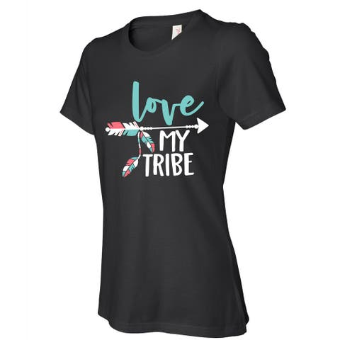 Love My Tribe women's black t shirts, Cute t-shirt with saying