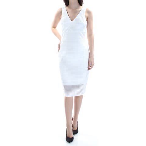 23e00479 GUESS Womens White Ribbed Striped Sleeveless V Neck Below The Knee Cocktail  Dress Size: 4