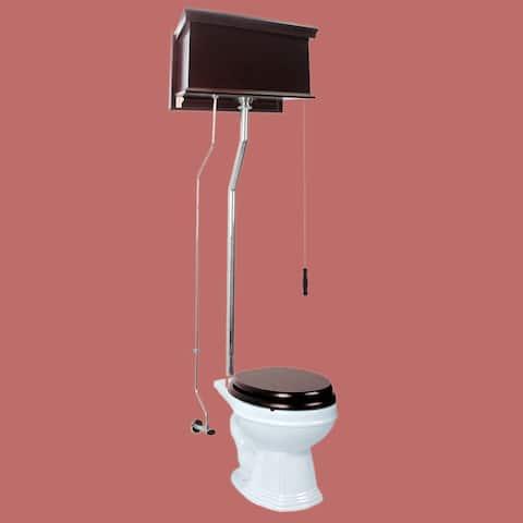 Dark Oak High Tank Pull Chain Toilet Round Chrome