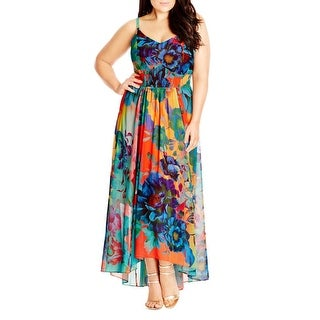 City Chic Womens Hot Summer Days Maxi Dress Floral Print Smocked - l