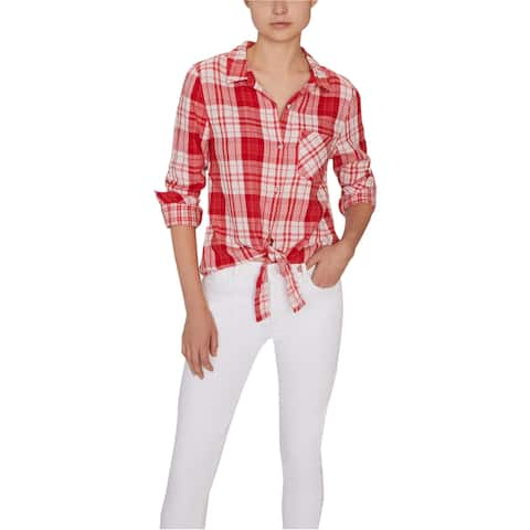 Sanctuary Clothing Womens Hayley Tie Front Button Down Blouse, Red, X-Large