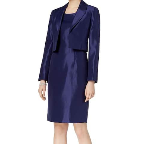 Le Suit Women's Navy Blue Size 4 Cropped Jacket Shimmer Dress Suit