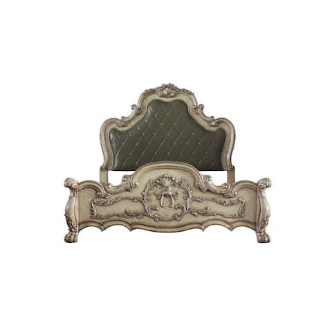 ACME Dresden Queen Bed in Vintage Bone White & PU