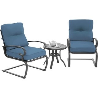 Link to Nista 3-piece Outdoor Spring Metal Bistro Set by Havenside Home Similar Items in Patio Furniture