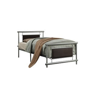 Link to Metal Frame Twin Size Platform Bed with Fabric Padding, Silver and Brown Similar Items in Decorative Accessories