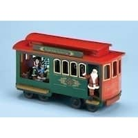 "Set of 2 Musical Lighted North Pole Trolley Cart with Santa Claus Christmas Decoration 11.25"" - green"