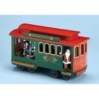 "11.25"" Musical Lighted North Pole Trolley Cart with Santa Claus Christmas Decoration - green"