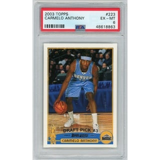 Carmelo Anthony Denver Nuggets 2003 Topps Basketball Rookie Card RC 223 Graded PSA 6 - Black - 5' x 8'