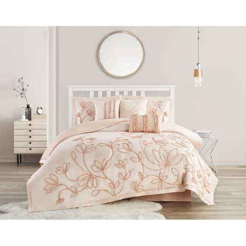 Peach Floral King Comforter Set