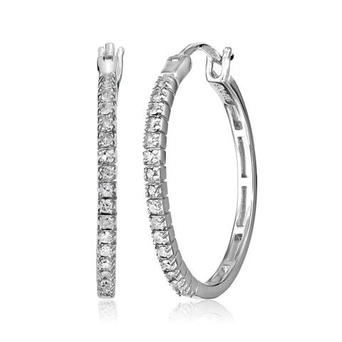 1/4 ct Diamond Hoop Earrings in Sterling Silver