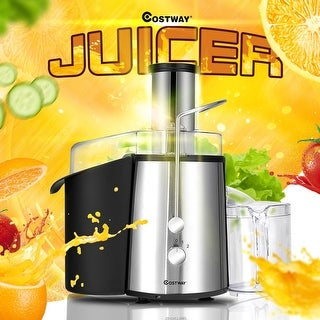 Costway Electric Juicer Wide Mouth Fruit & Vegetable Centrifugal Juice Extractor 2 Speed - black + sliver
