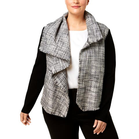 Anne Klein Womens Plus Jacket Draped Casual