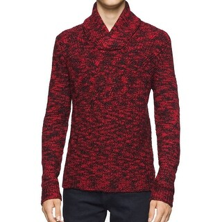 Calvin Klein NEW Red Mens Size 2XL Shawl-Collar Marled-Knit Sweater