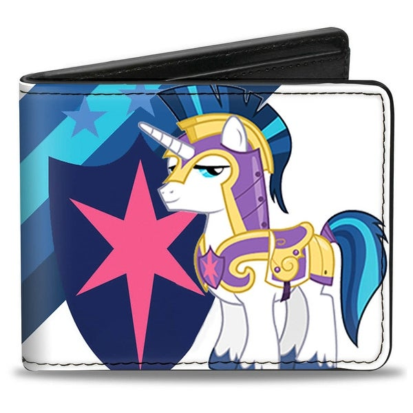 Shining Armor Pose Shield + Stripes White Blues Bi Fold Wallet - One Size Fits most
