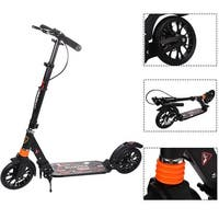 Goplus Folding Aluminum 2 Wheel Adult Kick Scooter Adjustable Height Dual Suspension - Black