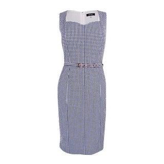 Nine West Women's Belted Gingham Sheath Dress