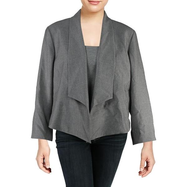 Nine West Womens Plus Open-Front Blazer Flyaway Work Wear