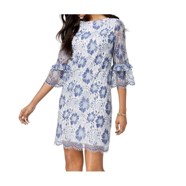 a3ebccbd7862 Shop Jessica Howard Blue Womens Size 10 Lace Bell Sleeve Sheath Dress - On  Sale - Free Shipping On Orders Over $45 - Overstock - 27369212