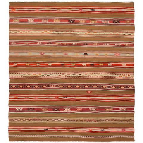 ECARPETGALLERY Flat-weave Bohemian Brown Wool Kilim - 5'1 x 9'3