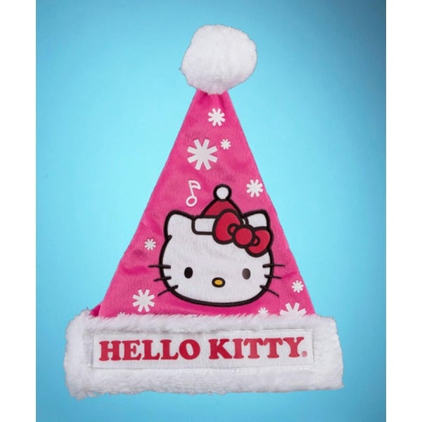 "17"" Pink and White ""HELLO KITTY"" Christmas Santa Hat with Faux Fur Trim"