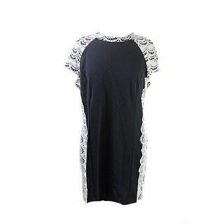 Kensie Black Cap-Sleeve Lace-Overlay Dress XL