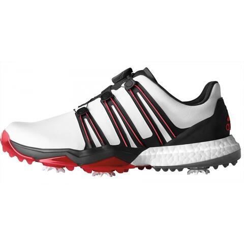 Adidas Men's Powerband BOA Boost White/Black/Scarlet Golf Shoes Q44870/Q44867