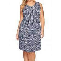 NIC+ZOE Blue Women's Size 3X Plus Geo-Print Twist Sheath Dress
