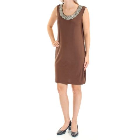 Womens Brown Sleeveless Above The Knee Shift Casual Dress Size: 6