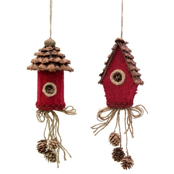 """Pack of Decorative Traditional Birdhouses Christmas Ornaments 11""""H"""