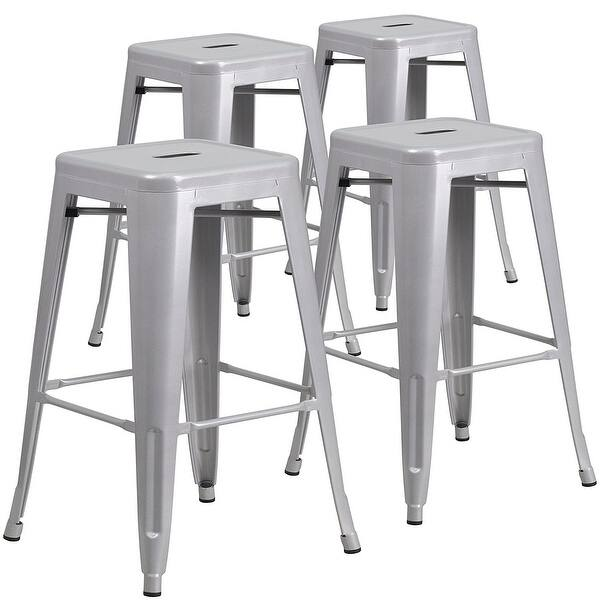 Swell Belleze Set Of 4 Modern Industrial Bar Stools 30 Seat Height Silver Alphanode Cool Chair Designs And Ideas Alphanodeonline