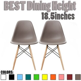 2xhome - Set of 2, Grey Plastic Eiffel chairs Solid Wood Legs Dining