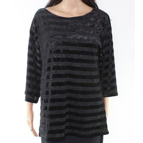 Ruby Rd. Women's Black Size Small S Striped Glitter Tunic Blouse