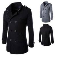 The Men's Fashion Wool Woolen Coat Double Breasted Coat