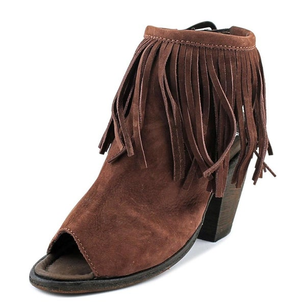 Independent Boot Company Claire Peep Fringe Women Nubuck Cafe Boots