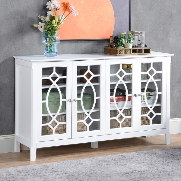 """HOMCOM Wood Accent Sideboard Buffet Serving Storage Cabinet with 4 Framed Glass Doors, Adjustable Shelves - 54""""W x 15.5""""D x 32""""H. Opens flyout."""
