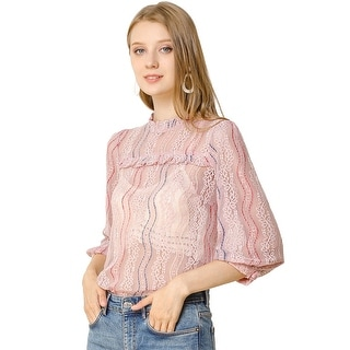 Women's 3/4 Sleeves Ruffle Mock Neck Sheer Lace Top