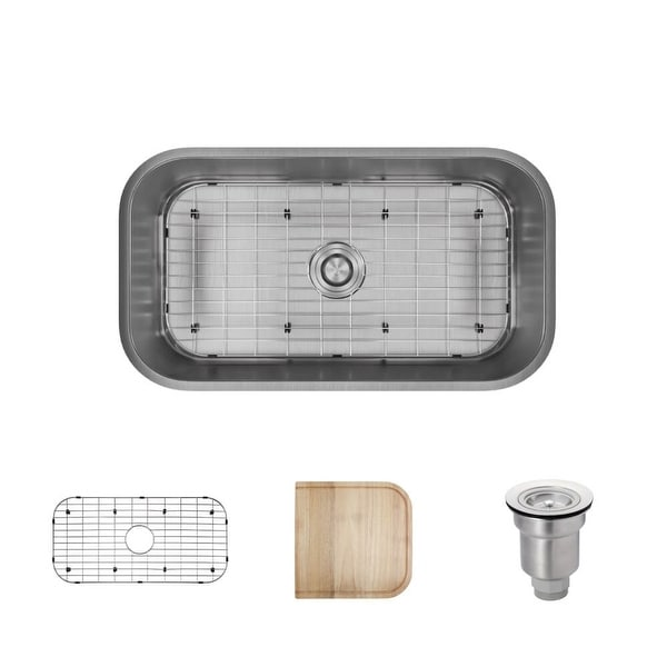 """Rene R1-1024C 32-1/4"""" Single Basin Stainless Steel Kitchen Sink - Basin Rack, Basket Strainer, and Cutting Board Included"""