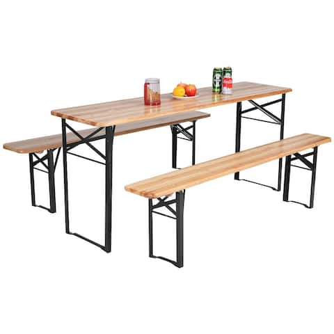 Costway 3 PCS Beer Table Bench Set Folding Wooden Top Picnic Table