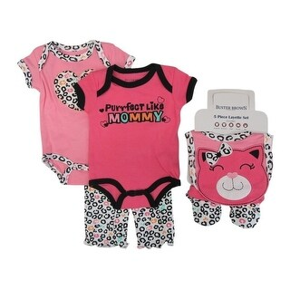Buster Brown Baby Girls Pink Bodysuits Pant Bootie Bib 5 Pc Layette Set