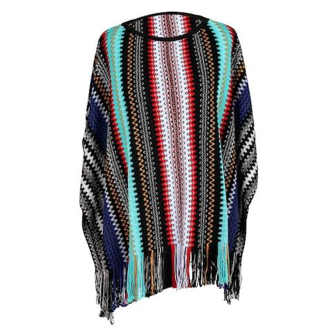 Missoni Black/Blue Crochet Knit Zigzag Fringe Crewneck Poncho - Large