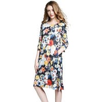 Women's Casual Loose Midi Boho Floral Dress with Pockets
