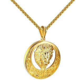 "Lion Face Half Moon Pendant Gold Tone Stainless Steel Box Necklace 24"" Custom"