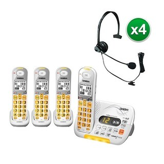 Uniden D3097-4 with Headset DECT 6.0 Amplified Cordless Phone w/ 3 Extra Handsets