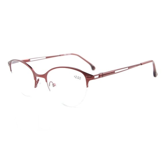 Eyekepper Quality Spring Hinges Half-Rim Cat-eye Style Reading Glasses Red +1.25