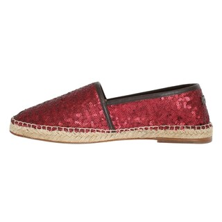 Dolce & Gabbana Red Sequined Logo Loafers Espadrilles - eu44-us11