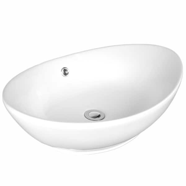 Sutherland White Ceramic Oval Vessel Bathroom Sink With Overflow Overstock 33185098