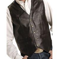 Roper Western Vest Mens Leather Vest Snap Brown